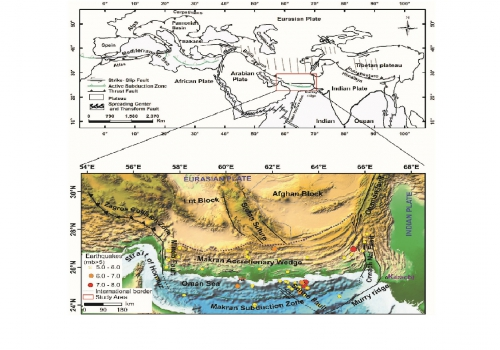Tectonic setting of Makran subduction zone in Alpine Himalayan orogenic belt in Makran accretionary wedge
