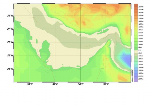 Bathymetrical map of the Persian Gulf (Created by Ocean Data View software)