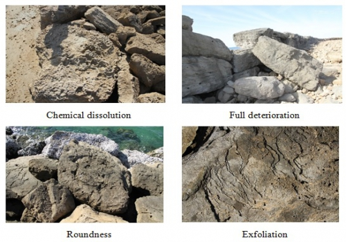 Different types of erosions recorded on each rock block forming the studied breakwaters